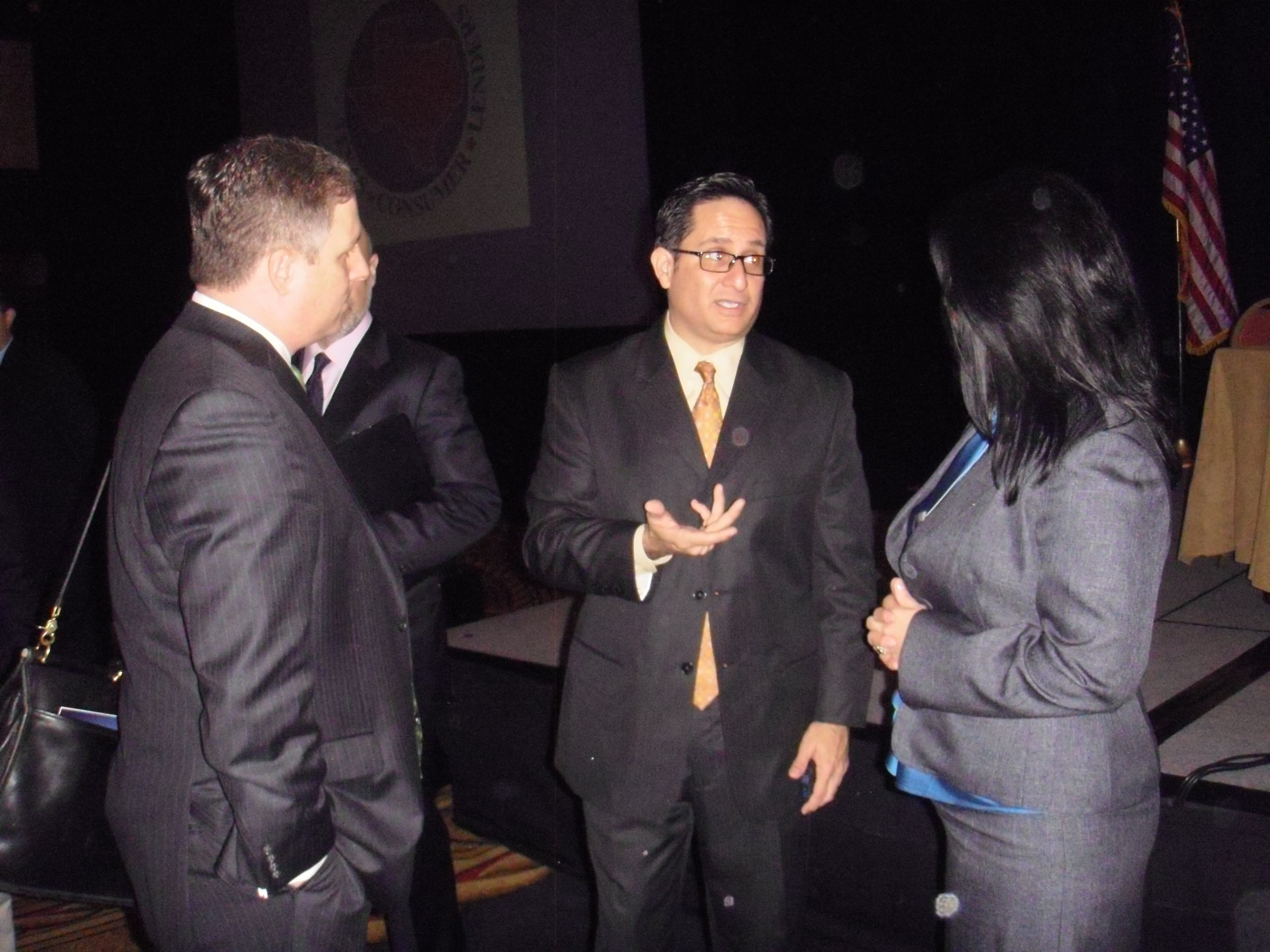 Linda Vega (LRTV), Brad Bailey ( the Texas Solution), and state Rep. Larry Gonzales.