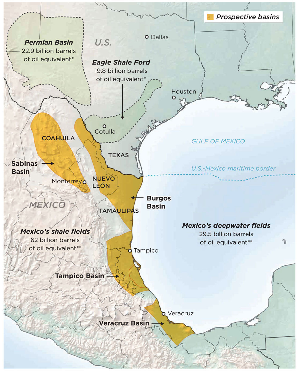 The New Border Eyes Are On Mexicos Untapped Potential Latino - Map us oil fields