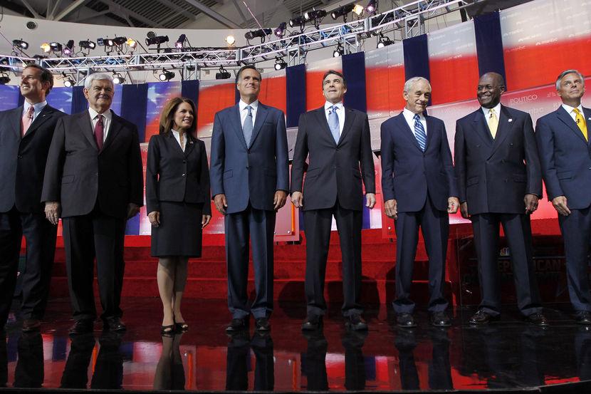 Rick Santorum, Newt Gingrich, Michele Bachmann, Mitt Romney, Rick Perry, Ron Paul, Herman Cain, Jon Huntsman