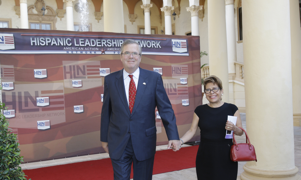 ormer Florida Gov. Jeb Bush and his wife, Columba, arrive at the Hispanic Leadership Network conference on April 18, 2013, in Coral Gables, Fla.