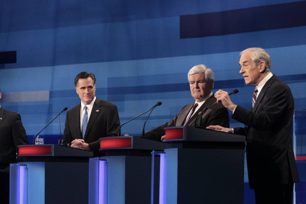 Republican presidential hopefuls, from left, Rick Santorum, Mitt Romney, Newt Gingrich and Ron Paul debating in Myrtle Beach, S.C., Jan. 16, 2012.