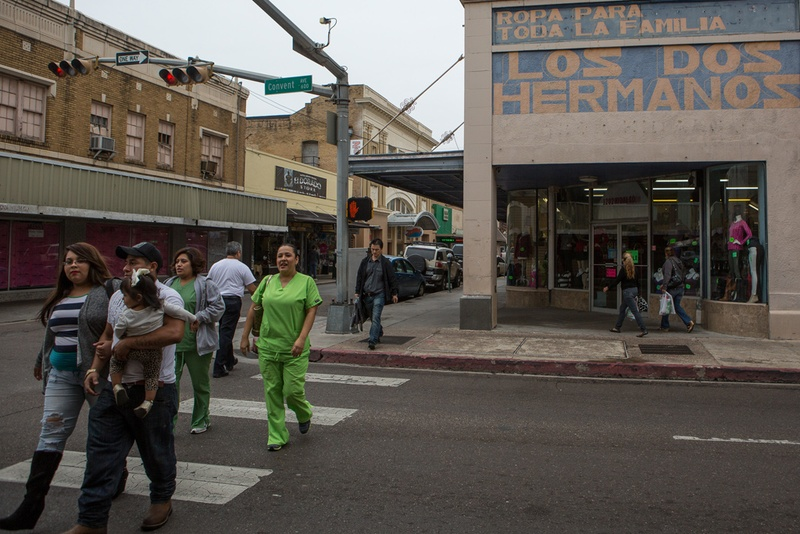 There are many busy retailers near the international bridge where pedestrians may cross in and out of the United States, in historic downtown Laredo, Tx