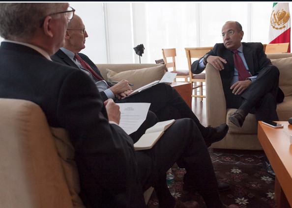 Matthew Rooney (foreground) and William McKenzie interview former Mexican President Felipe Calderón in April 2016.