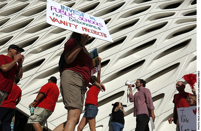 In September 2015, the United Teachers Los Angeles union staged a demonstration outside Eli Broad's museum to protest his involvement in a plan to expand the number of charter schools operating in the district.