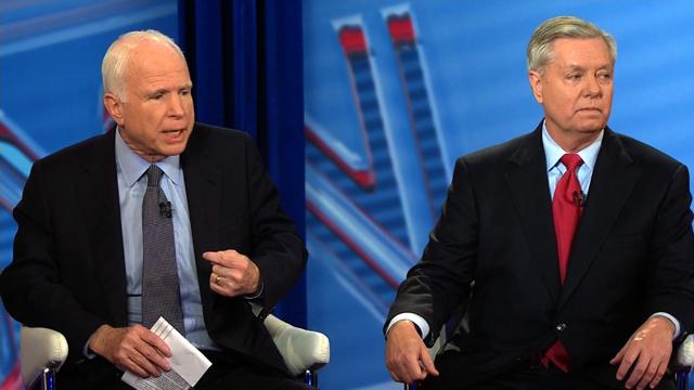 Sen. John McCain and Sen. Lindsey Graham speak to CNN's Dana Bash during a CNN town hall on March 1, 2017.