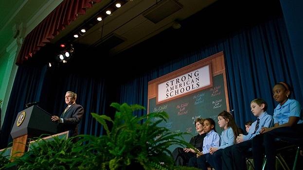 US President George W. Bush speaks on No